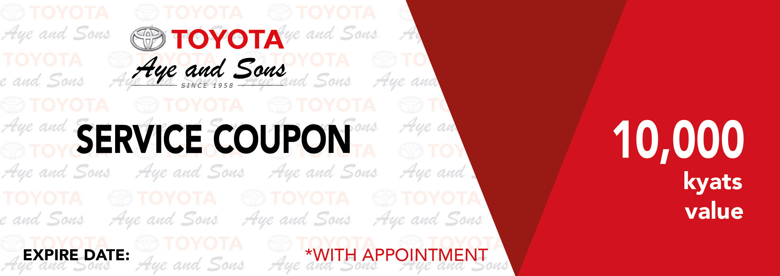Toyota Service Appointment >> Service Appointment Promotion Toyota Aye And Sons