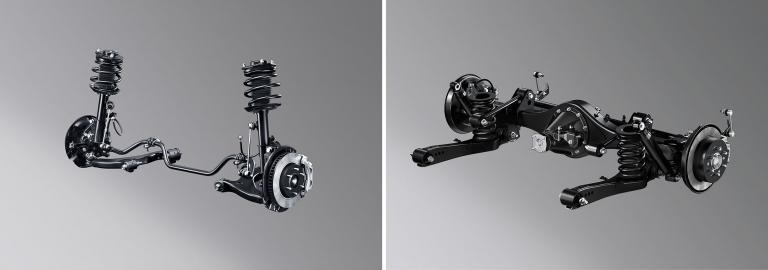MacPherson strut suspension is adopted for the front and a 4-link coil suspension for the rear, helping achieve excellent handling and stability as well as a quiet and superbly comfortable ride.  The adoption of disc brakes for the front and rear yields excellent braking force