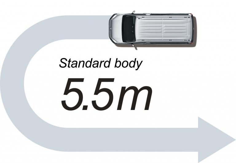 The minimum turning radius of Toyota Majesty lets you easily maneuver in tight worksites.